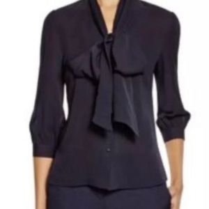 Navy blouse with tie